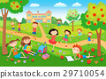 Children playing on the grass in the park before 29710054
