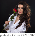 red, rose, woman 29710282