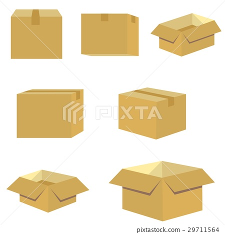 set of packing box in brown vector 29711564