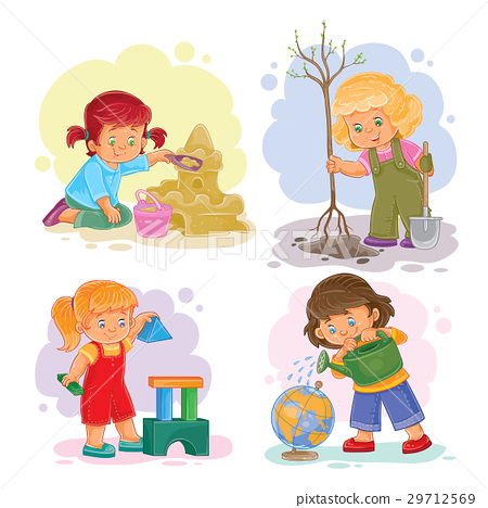 Set icons small girls playing with toys 29712569