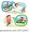 Set clip art illustrations little boy sick 29712647