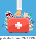 first aid kit in doctor hand 29713994