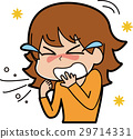 Illustration of a woman who stops sneezing with hay fever 29714331