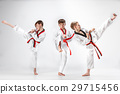 The studio shot of group of kids training karate 29715456