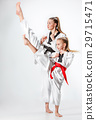 The studio shot of group of kids training karate 29715471