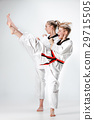 The studio shot of group of kids training karate 29715505
