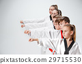 The studio shot of group of kids training karate 29715530