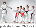 The studio shot of group of kids training karate 29715533