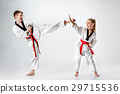 The studio shot of group of kids training karate 29715536