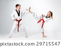 The studio shot of group of kids training karate 29715547