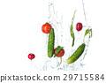 The fresh tomatos, cucumbers, radish in spray of 29715584
