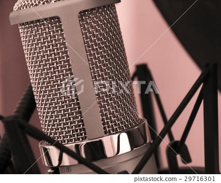Vocal microphone close-up shot in a studio 29716301