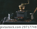 Roasted coffee beans over black 29717748