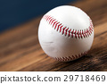 Baseball ball on wooden table 29718469