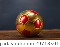Ball on wooden table and blue background 29718501