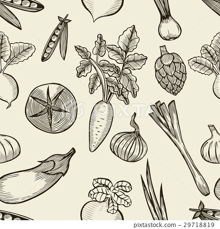 vegetables seamless pattern. 29718819