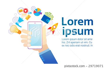 Hand Hold Cell Smart Phone Modern Gadget 29719071