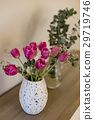bouquet of pink tulips in white vase  29719746
