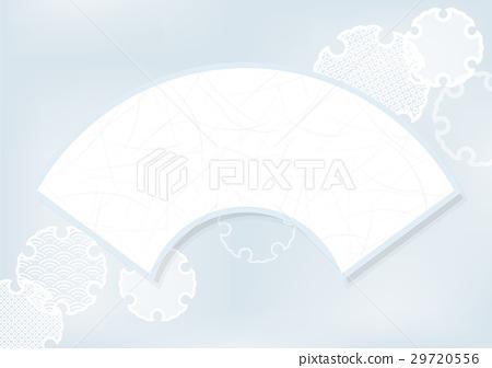 扇面과 雪輪 문양 배경 소재 29720556