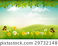 Spring nature landscape background with flowers 29732148