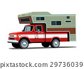 Camper shell on red pickup truck 29736039