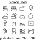 Bedroom icon set in thin line style 29736284