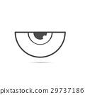 vector half eye outline flat icon 29737186