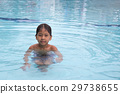 8 years old Asian kid swimming lonely  29738655