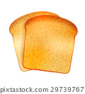 Couple of bright realistic tasty toasts on white 29739767