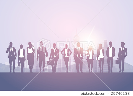 Silhouette Business Man And Woman Team 29740158