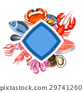 Background with various seafood. Illustration of 29741260