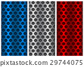 Metal perforated backgrounds. Blue, silver and red 29744075