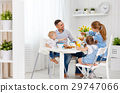 Happy family  at breakfast 29747066
