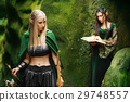 Two female elves walking in the woods 29748557