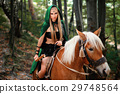 Female elf in the forest with her horse  29748564