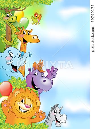 Cartoon animals, cheerful background 29749173