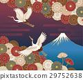 후지산,학과 국화 꽃의 전통 일본식 무늬 29752638
