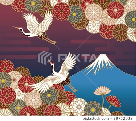 富士山,鶴和菊花傳統日式 29752638