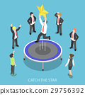 Businessman jumping on the trampoline catch star 29756392