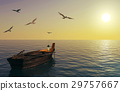 Fishing boat floating over calm sea and sunset sky 29757667