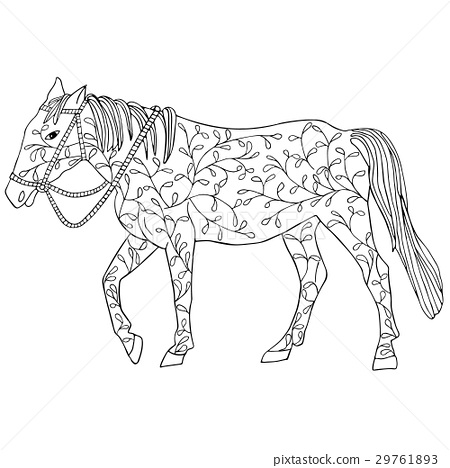 Horse in doodl black floral design isolated  29761893