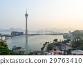 Macau tower and sai van bridge in evening at china 29763410