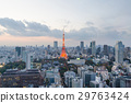 Tokyo tower light up and sunset sky in tokyo japan 29763424