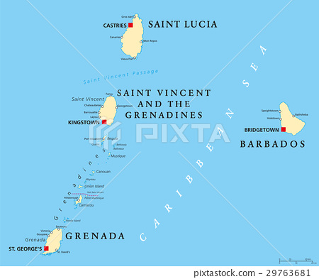 Barbados, Grenada, Saint Lucia, Saint Vincent map 29763681