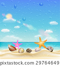 shell and starfish on a sand beach with water drop 29764649
