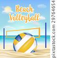 beach volleyball and net on a sea sand beach 29764654