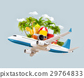 airplane and tropical palm on a paradise island 29764833