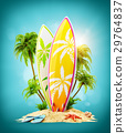 Surf boards on paradise island 29764837