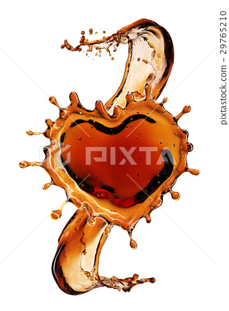 Heart from cola splash with bubbles isolated  29765210