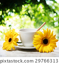 Coffee cup with yellow gerberas 29766313
